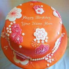 Beautiful Orange Birthday Cake - Design your own names