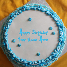 Blue Floral Birthday Cake - Design your own names