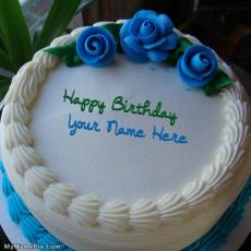 Birthday Cakes name pictures - Blue Flower Icecream Cake