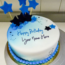 Blue Stars Birthday Cake - Design your own names