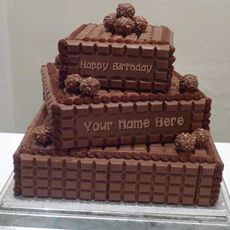 Chocolate Layered Birthday Cake - Design your own names