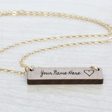 Jewelry name pictures - Engraved Bar Necklace