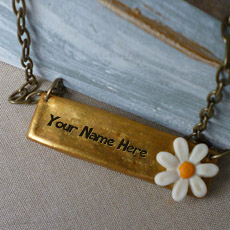 Flower Golder Bar Necklace - Design your own names