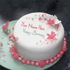 Birthday Cakes name pictures - Flowers Elegant Cake
