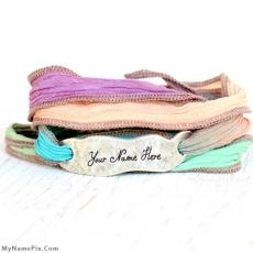 Hand Dyed Silk Wrap Bracelet - Design your own names