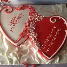 Anniversary Cakes name pictures - Happy Anniversary Hearts Cake