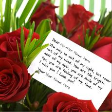 Love Note on Roses - Design your own names