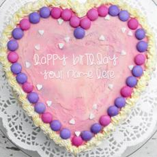 Pink Heart Cake - Design your own names
