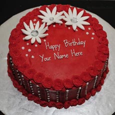 Red Elegant Birthday Cake - Design your own names