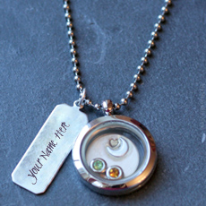 Round Silver Necklace - Design your own names