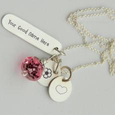 Silver Charming Necklace - Design your own names