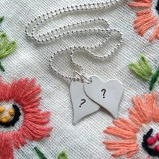 Silver Hearts Love Pendant - Design your own names