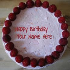 Strawberry Border Birthday Cake - Design your own names