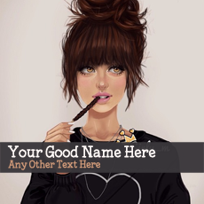 Pencil Girl Drawing - Design your own names
