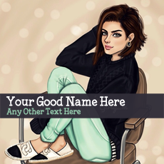 Stylish Girl Drawing - Design your own names