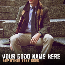 Stylish Guy Sitting - Design your own names