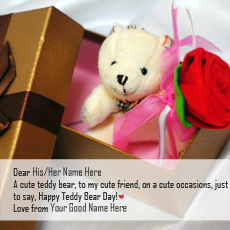 Happy Teddy Day name pictures - Teddy Bear Day Gift