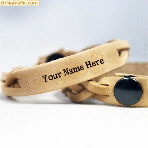 Design your own names of Brown Leather Bracelet