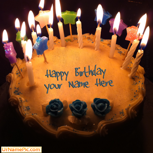 Write Name On Candles Birthday Cake Happy Birthday Cake