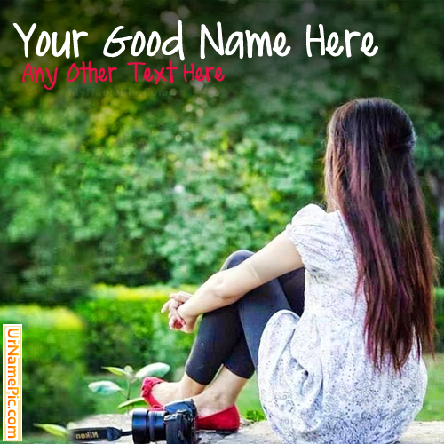 Design your own names of Cute Girl Waiting