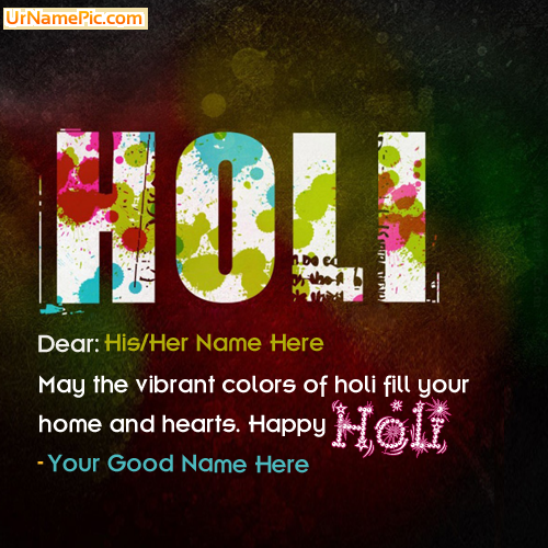 Design your own names of Holi Greetings