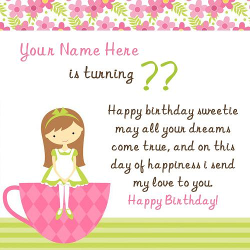 Design your own names of Birthday Wish for Girl