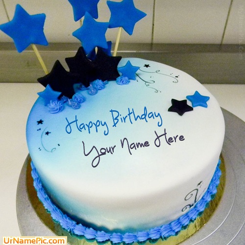 Write name on Blue Stars Birthday Cake - happy birthday ...