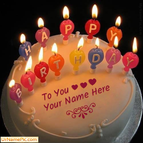 Write name on Candles Happy Birthday Cake - happy birthday ...