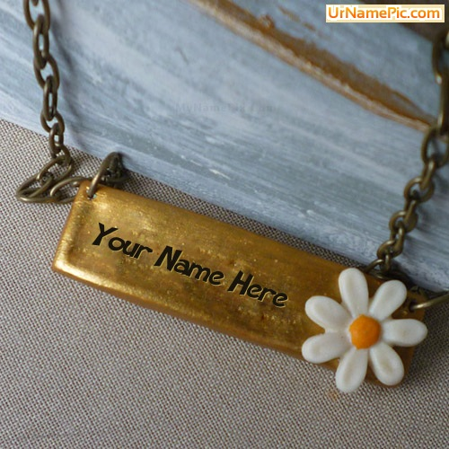 Design your own names of Flower Golder Bar Necklace