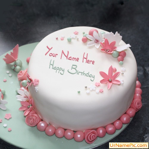 Birthday Images With Flowers And Cake With Names : Write name on Flowers Elegant Cake - happy birthday cake ...