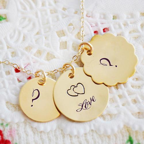 Design your own names of Golden Initial Heart Necklace