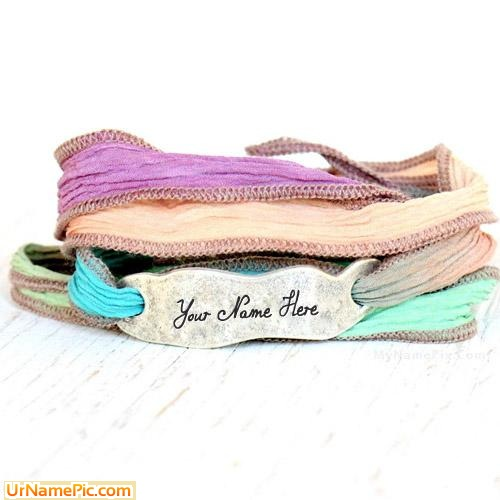Design your own names of Hand Dyed Silk Wrap Bracelet