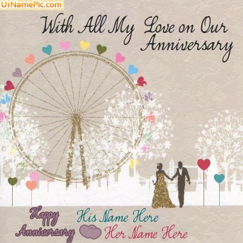 Design your own names of Happy Anniversary Card