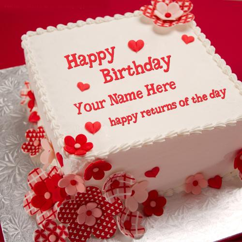 Design your own names of Happy Returns Birthday Cake