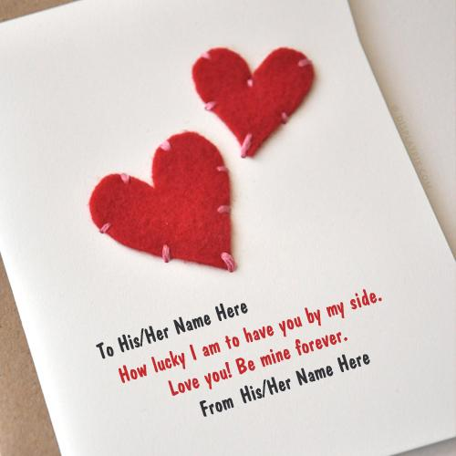 Hearts Card Name Picture - Love Name Generator