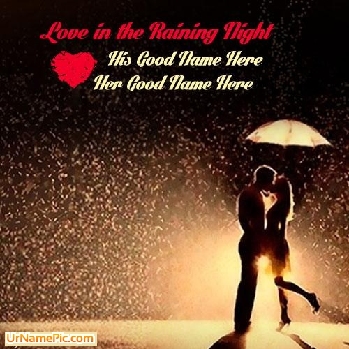 Design your own names of Love in the raining night
