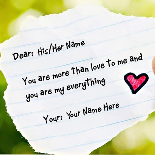 Design your own names of Love Note