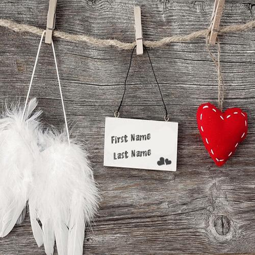 Design your own names of Love Tag Heart and Angel Wings
