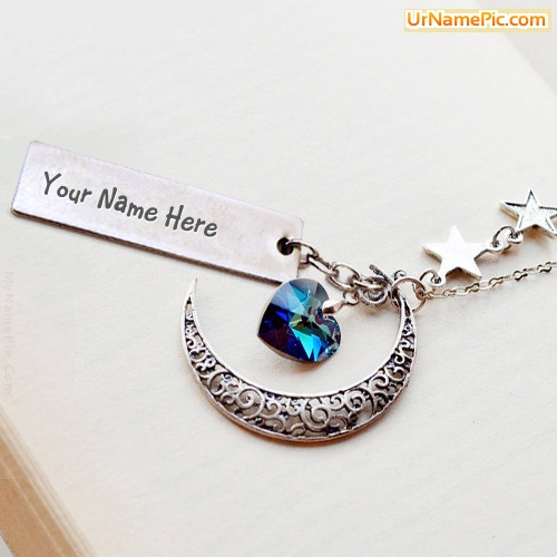 Design your own names of Moon Heart Necklace