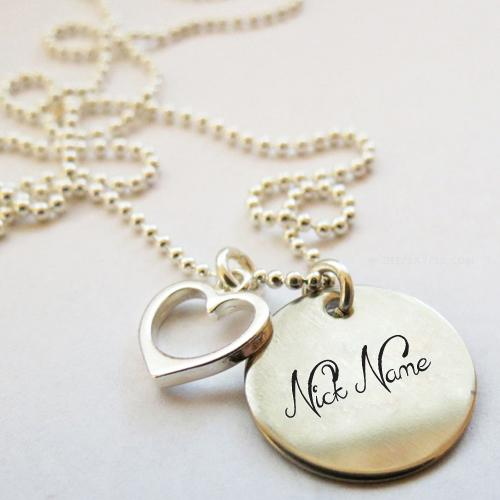 Design your own names of Nick Heart Necklace