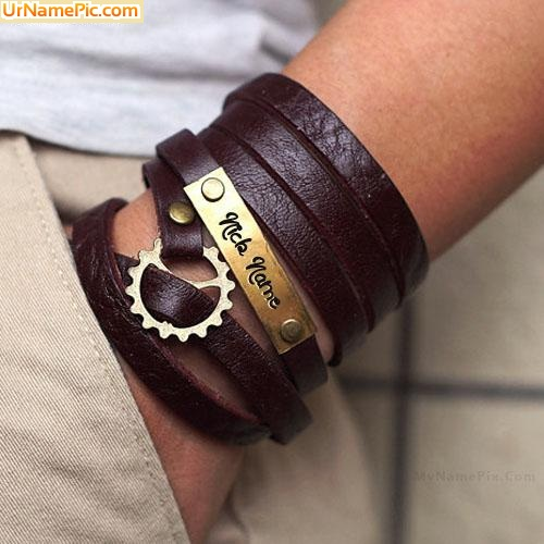 Design your own names of Nick Name Leather Bracelet