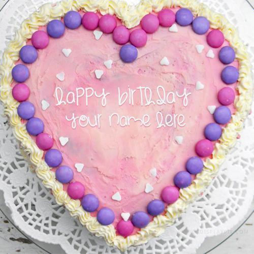 Design your own names of Pink Heart Cake