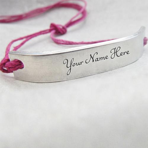 Design your own names of Pink Silver Personalized Bracelet