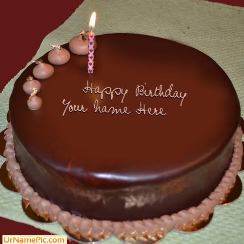 Birthday Kajal Name Cake Images : Write name on Plain Chocolate Cake - happy birthday cake ...