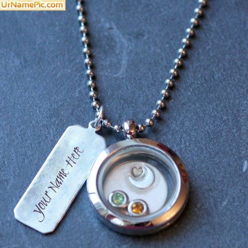Design your own names of Round Silver Necklace