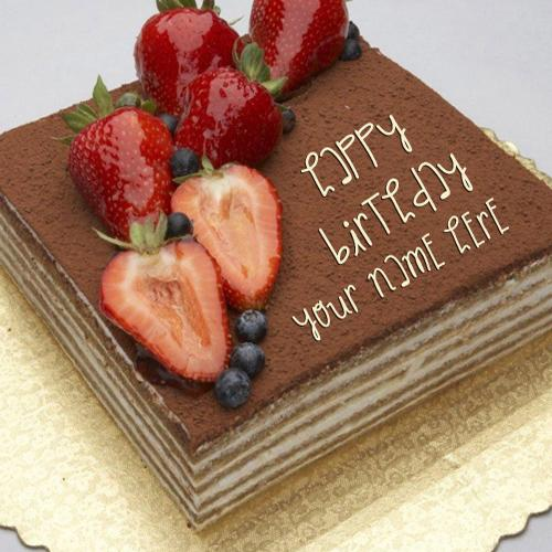Chocolate Cake Pic With Name : Write name on Strawberry Topped Chocolate Cake - happy ...
