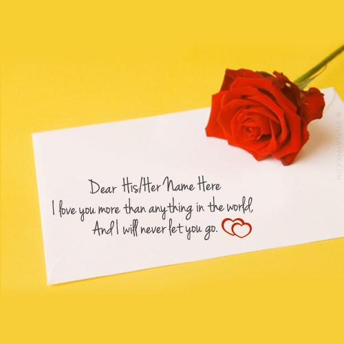 Design your own names of Red Rose with Note