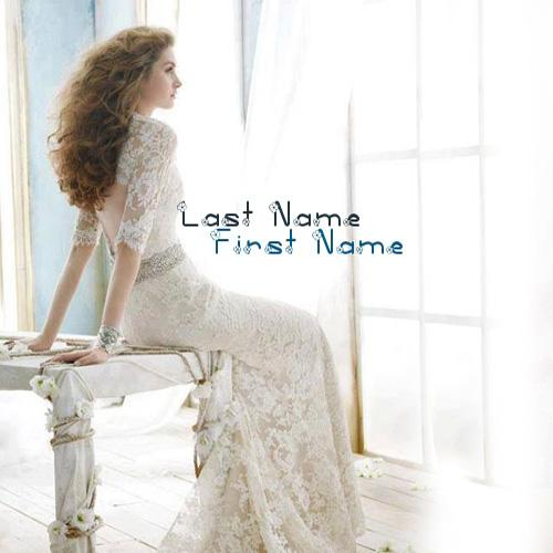 Design your own names of White dressed beautiful girl