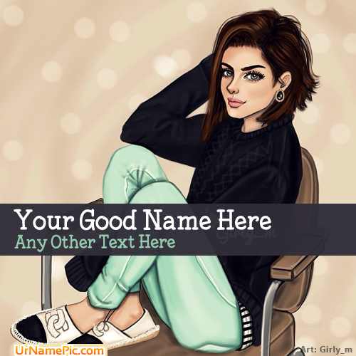 Design your own names of Stylish Girl Drawing