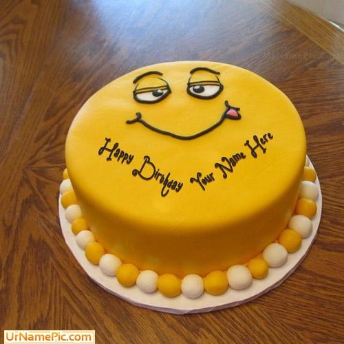write name on funny cake for kids  happy birthday cake